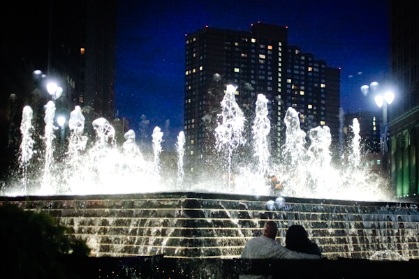 The fountain at Campus Martius Park